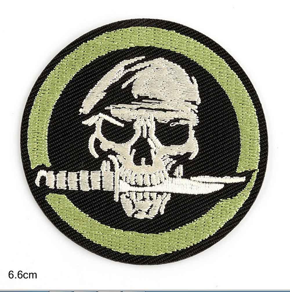 Нашивки с зеленым черепом с ножом, патчи спецназа для детской одежды, Пришивные аппликации «сделай сам», круглые значки