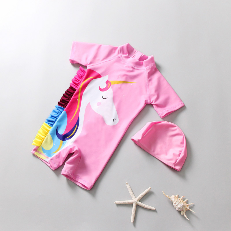 KID'S Swimwear Women's Cute INS Unicorn Girls Infant Baby One-piece Sun-resistant Tour Bathing Suit Little Princess Swimwear