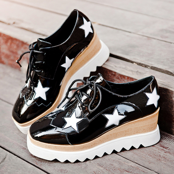 Women's genuine leather wedge platform oxfords sqaure toe female comfortable footwear star casual punk thick sole shoes women