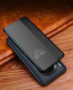Image 2 - Lüks akıllı dokunmatik Mate30pro için hakiki deri Flip Case Huawei Mate 30 20 P30 Pro Mate20x Mate30 5G görüş pencere telefon kapak