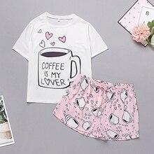 Lips Print Tshirt Cartoon Elastic Waist Shorts Casual Sleepwear Women Summer Cute Round Neck Short S