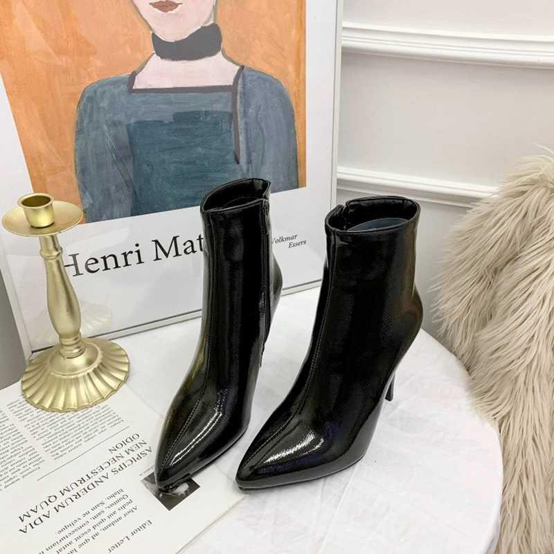 REAVE kedi moda yarım çizmeler kadınlar için sivri burun Stiletto ince topuk fermuar katı rugan büyük boy 33-48 sarı siyah