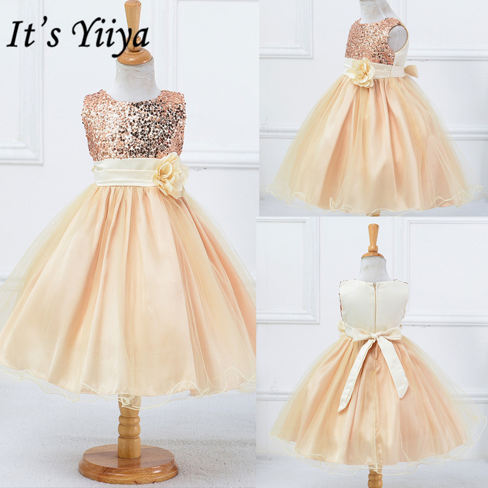 It's YiiYa Flower Girl Dress 2019 Flowers First Communion Dresses For Girls Elegant O-neck Sequined Christmas Ball Gowns L067