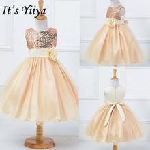 It's Yiya/платье с цветочным узором для девочек г.; платья для первого причастия с цветами для девочек; элегантные рождественские Бальные платья с круглым вырезом и блестками; L067