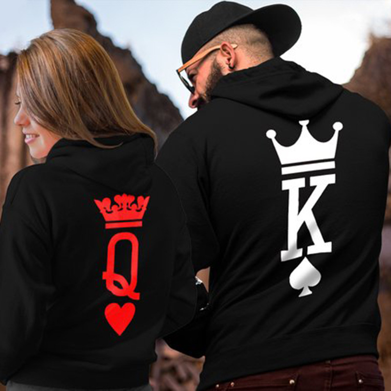 KING Queen Crown Print Unisex Men Women Autumn Hoodies Slim Sweatshirt For Couple Lovers Winter Patchwork Hooded Pullovers