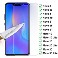 Protector de pantalla de cristal templado para móvil, película de protección 15D para Huawei Nova 3 3i 4 4e Nova5 5i 5T, Huawei Mate 10 20 30 Lite