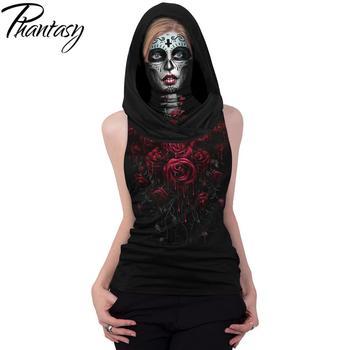 Phantasy Skull Skeleton T-shirts Women Print Clothing Hooded Face Mask Tshirt Halloween Cosplay Scarf Tops Sleeveless Streetwear