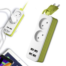 EU Plug Power Strip Wall Multiple Socket Portable 4 USB Port for Mobile Phones 1200W 250V,1.5m Cable