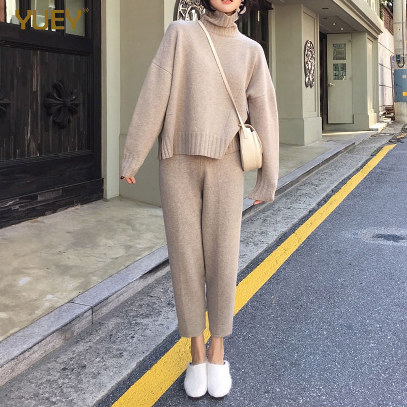 Womens Cozy Outfits Knitted 2 Pieces Clothing Set For Autumn Spring Loose Leisure Streetwear Suit Female Turtleneck Pullovers