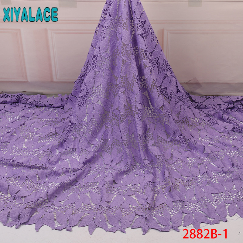 African Lace Fabric Purple,Hot Sale Guipure Cord Lace Fabric,2019 Milk Silk Lace,Nigerian Lace Fabrics for Wedding KS2882B-1