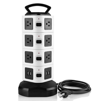 Socket Power Board Multi Plug Usb Socket with Plug and 2 M Power Cord Power Strip Tower Us Plug