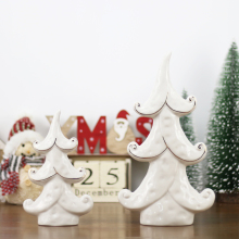 New Arrival Cream White Porcelain Tree Figurines Ceramic Xmas Home Decoration Gold Plating Ornament Christmas Statues
