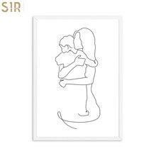Pintura decorativa de línea blanca y negra, póster abstracto para padres e hijos, lienzos decorativos para decoración de dormitorio