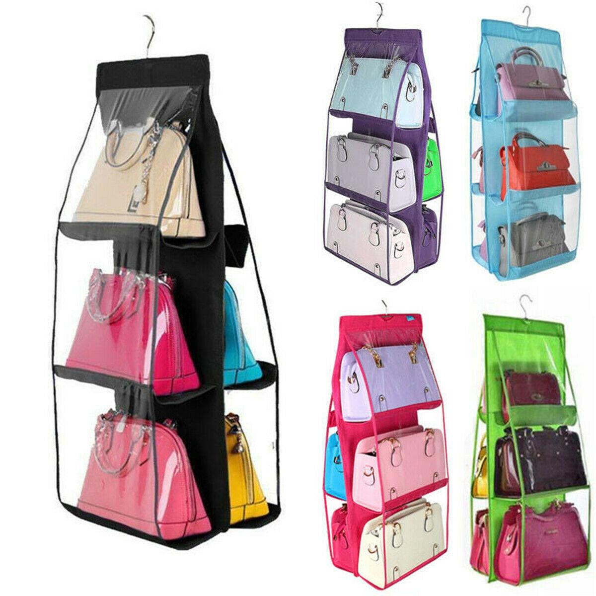 Hbf7961b9291d4234a58e0eda67c71ac8J - 6 Pocket Foldable Hanging Bag 3 Layers Folding Shelf Bag Purse Handbag Organizer Door Sundry Pocket Hanger Storage Closet Hanger