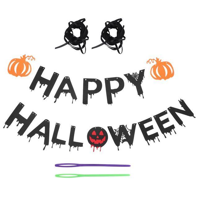 1pc Halloween fête décorations drapeaux lettres bannière citrouille drapeau pour Halloween fête chambre