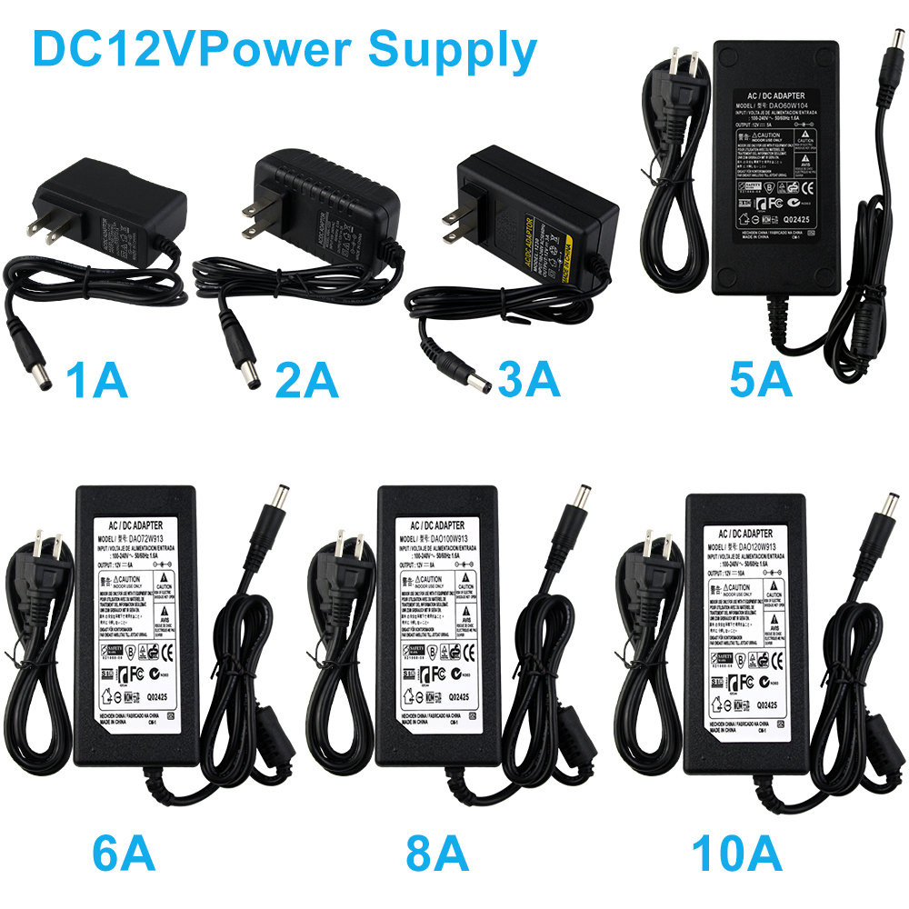 AC100-240V To DC 12V Led Driver PowerSupply Transformator Lighting Adapter Charger EU/US /UK /AU Pulg 1A~10A For Led Strip Neon