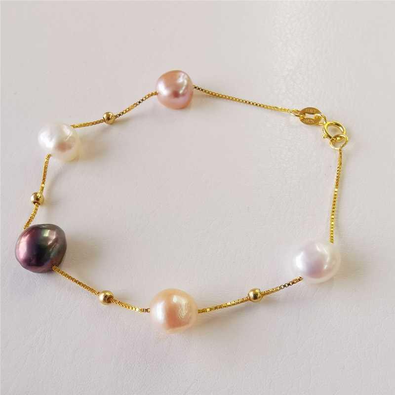 DMBFP262 Natuurlijke Zoetwater Parel Armband Zilver 925 Sieraden Zwart/Wit/Roze/Paars Barokke Parel Armbanden Voor Vrouwen