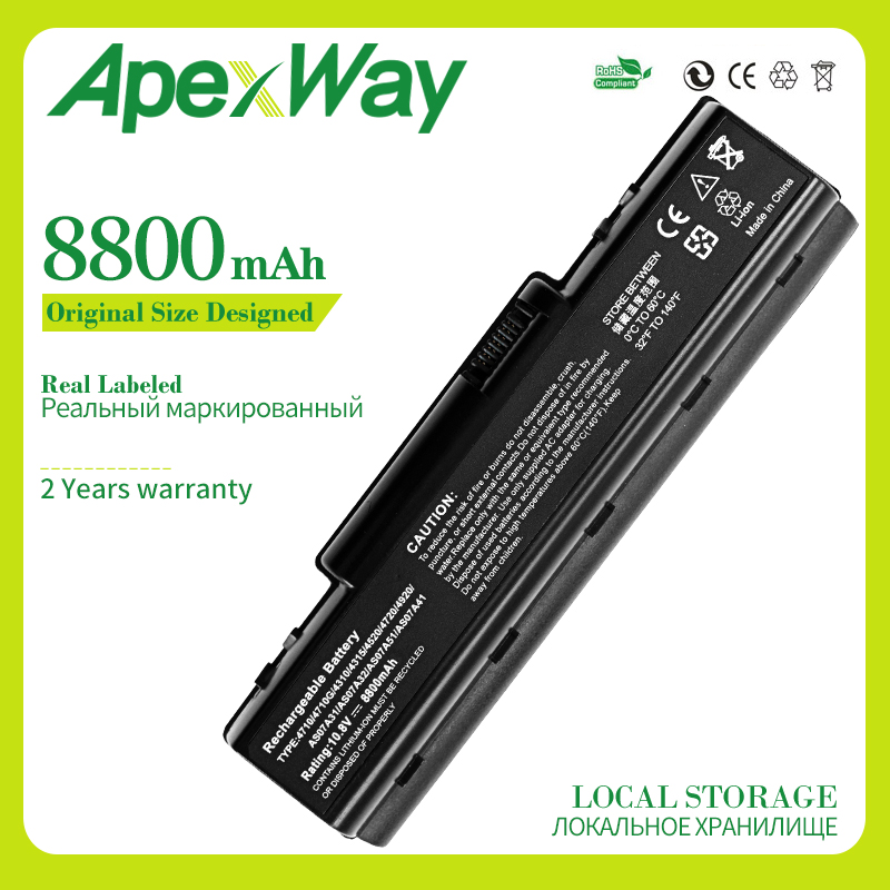 Apexway 8800mAh laptop battery for Acer Aspire 4710 5735 AS07A31 AS07A41 AS07A71 AS07A75 AS2007A BTP-AS4520G LC.BTP00.012 MS2219 image