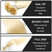 MW U ongles pointe Machine Remy kératine Extensions de cheveux humains directement pré-collé Fusion cheveux Capsules 12