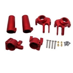 CNC полностью металлические передние кулаки рулевого управления, C ступица перевозчика, задняя ось блокировки набор (черный) для осевой SCX10 II ...