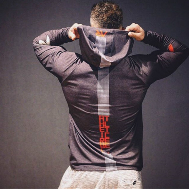 Fashion New Men Fitness Polyester Slim Fit Hoodie Bodybuilding Workout Long Sleeve Tops