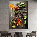 Nordic Стиль Кухня комнаты картина на стену зерна ложка для специй с головкой в форме перца холст картины Плакаты и принты картина без рамки дл...