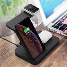 15W Qi Fast Wireless Charger Stand For iPhone 11 XS XR Airpods Pro iWatch 3 in 1 Charging Dock Station for Samsung S20 S10 Buds