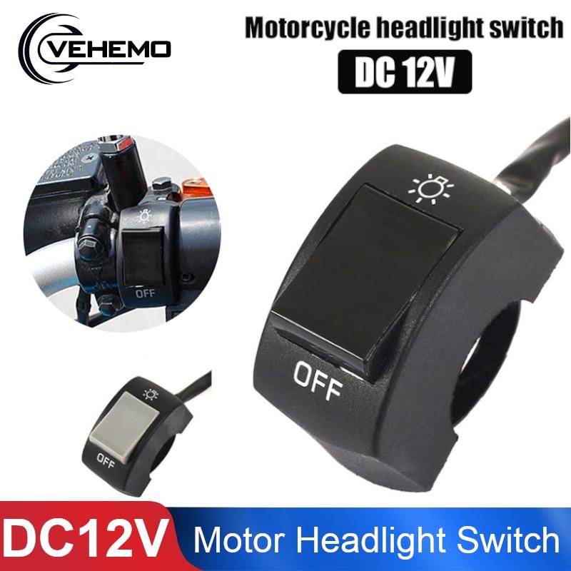 Vehemo ON/OFF Bike Motorcycle Headlight Switch Handlebar Switch ATV Universal Spot Light Replacement Parts Motorcycles Switch