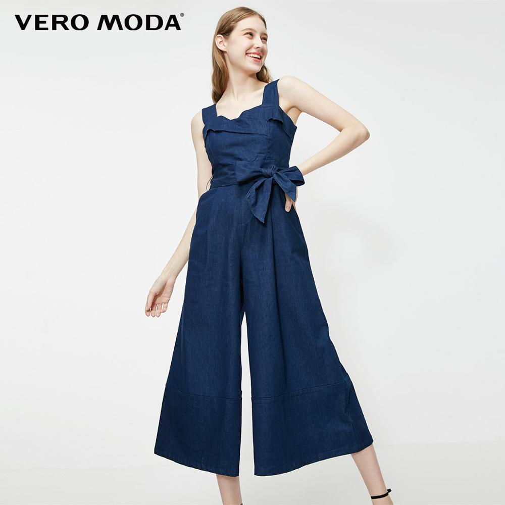 Vero Moda Women's Bowknot Straps Wide-leg Denim Jumpsuit | 319164507