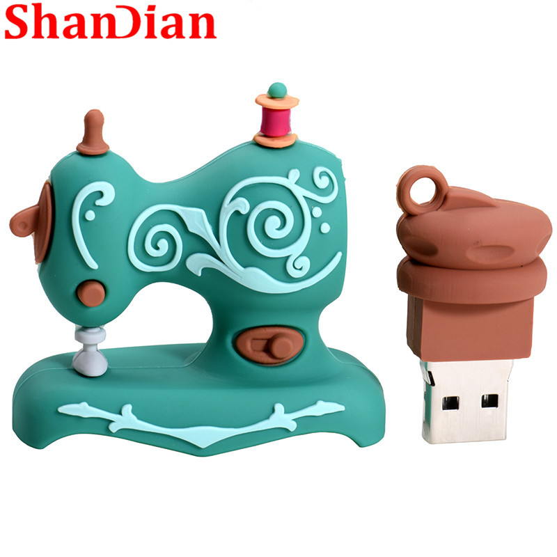 Image 5 - SHANDIAN Cartoon USB2.0 Flash Drive Sewing Machine Pen Drive Pen Drive 4GB 16GB 32GB 64GB 128GB U Disk Wedding Commemorative G-in USB Flash Drives from Computer & Office