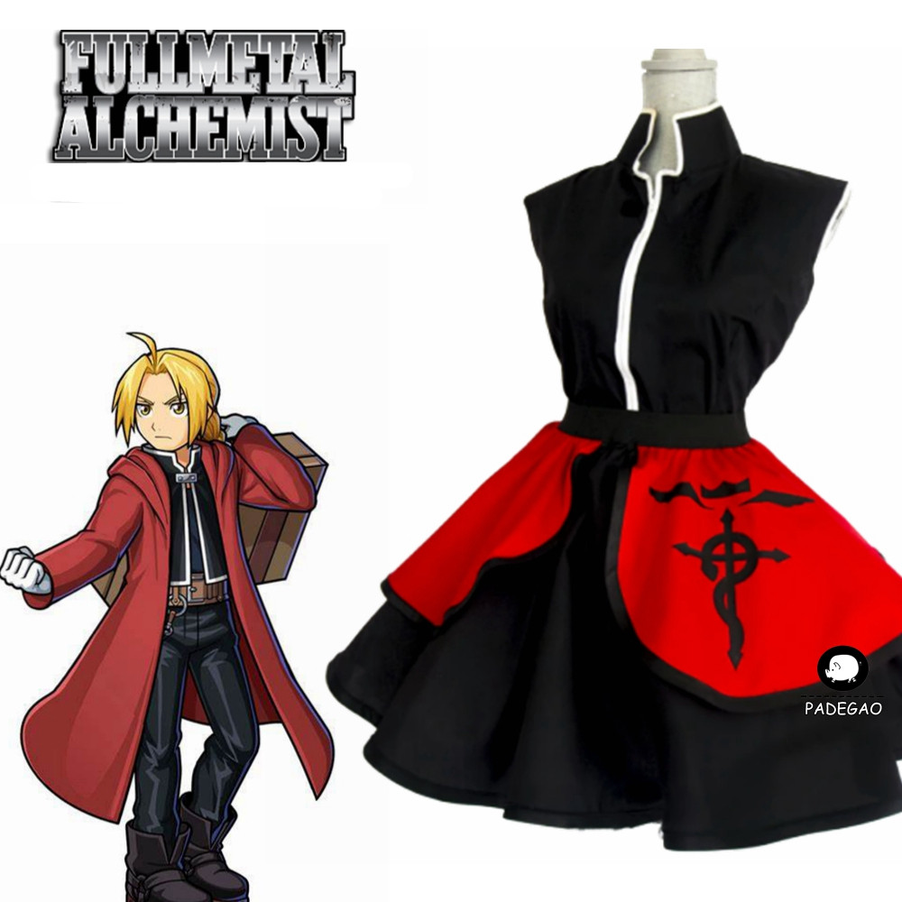 Ed Elric Fullmetal Alchemist Lolita Cosplay female Kimono Dress!