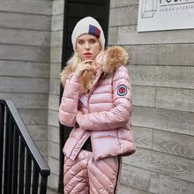 Women Fashion Waterproof Wave Striped Hooded Coat Thicken Pants Sets Jacket Casual Zipper Solid Warm Winter