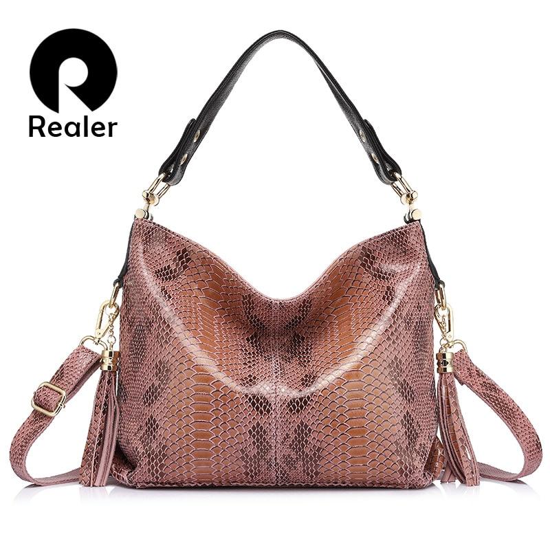 REALER brand new women genuine leather handbag fashion large capacity shoulder bags female serpentine pattern leather