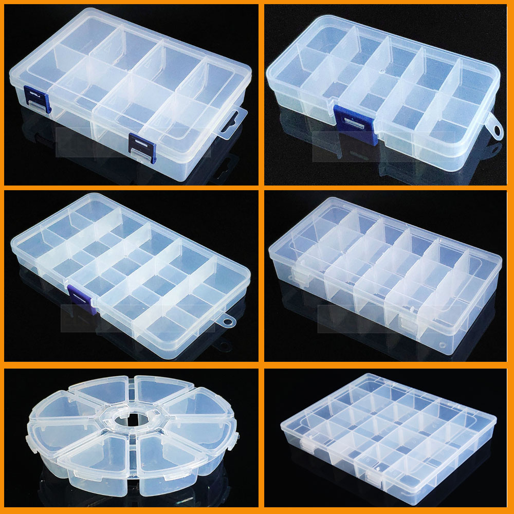Container Plastic Box Organizer Practical Adjustable Compartment Jewelry Earring Bead Screw Holder Case Display Case Strage Box