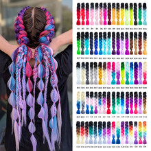 24 inch Synthetic Braiding Ombre Kanekalon Hair Accessorise Crochet Hair Braiding Blue Grey Hair Extensions Jumbo Braids African(China)