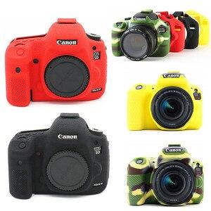 Image 1 - سيليكون الجلد DSLR حقيبة كاميرا الجسم حالة لكانون EOS R 6D 80D 800D 750D 4000D 5DSR 5D مارك الثالث الرابع 5D3 5D4 200D SL2 T100 T7i