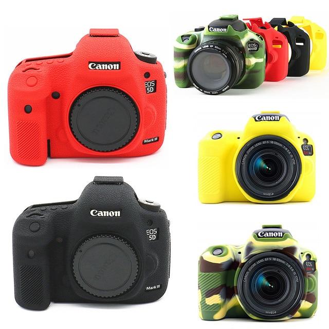 سيليكون الجلد DSLR حقيبة كاميرا الجسم حالة لكانون EOS R 6D 80D 800D 750D 4000D 5DSR 5D مارك الثالث الرابع 5D3 5D4 200D SL2 T100 T7i
