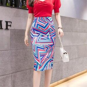 Image 5 - Falda ajustada de cintura alta con estampado de ratón para mujer, Falda de tubo con estampado de dibujos animados, de talla grande, estilo japonés, para verano