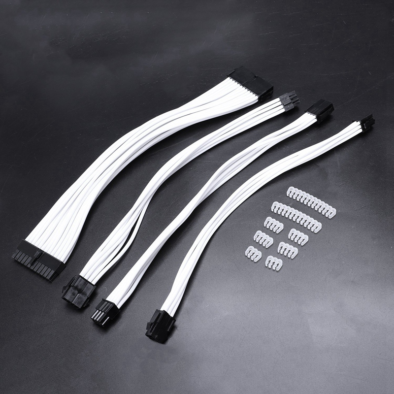Basic Extension Cable Kit; 1Pcs Atx 24Pin/Eps 4+4Pin/Pci-E 8Pin/Pci-E 6Pin Power Extension Cable 18AWG Wire Computer Connectors