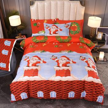 2020 Christmas Santa Claus Kies Bed Bedclothes Bed Linen Set with Pillowcase Girls Boys Bed Duvet Cover Set US Twin Bedding Set image