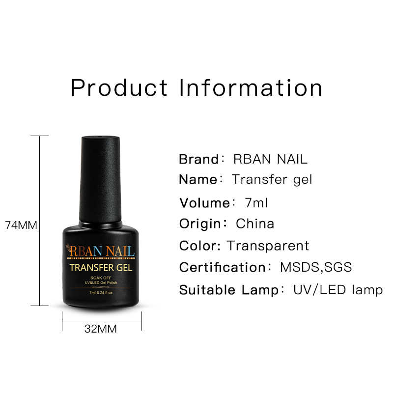 RBAN NAIL Marble Nail Foil Gel Set Transfer Gel polaco Kit necesita pegatina Transfer para laca de manicura Base barnices de la capa superior