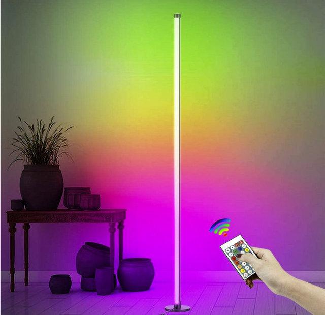 DIY RGBW ściemnialna narożna lampa podłogowa zmiana koloru LED oświetlenie otoczenia z pilotem muzycznym do salonu sypialni dzieci tanie i dobre opinie celont atmosferyczne ROUND CN (pochodzenie) RGB Floor Lamp Lampki nocne Z aluminium CR2032 Żarówki LED PRZEŁĄCZNIK 90-260 v