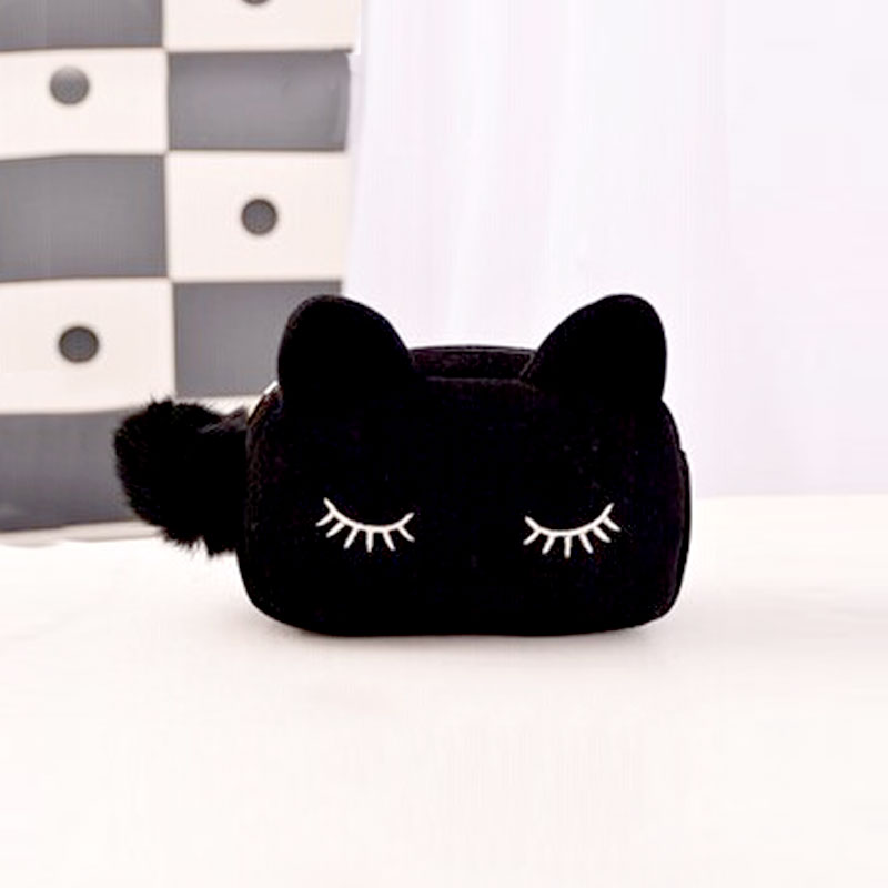 Women Cosmetic Bag Cute Pom Pom Cat Pattern  Makeup Case Female Organizer Bag Black Blue Pencil Case