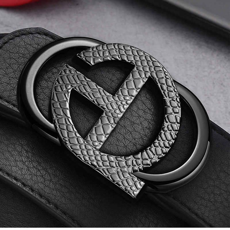 2020 Desain Baru Kulit Pin Sabuk Gesper untuk Pria Berkualitas Tinggi Jean Strap Panjang Thong Warna Hitam Fashion Pria belt