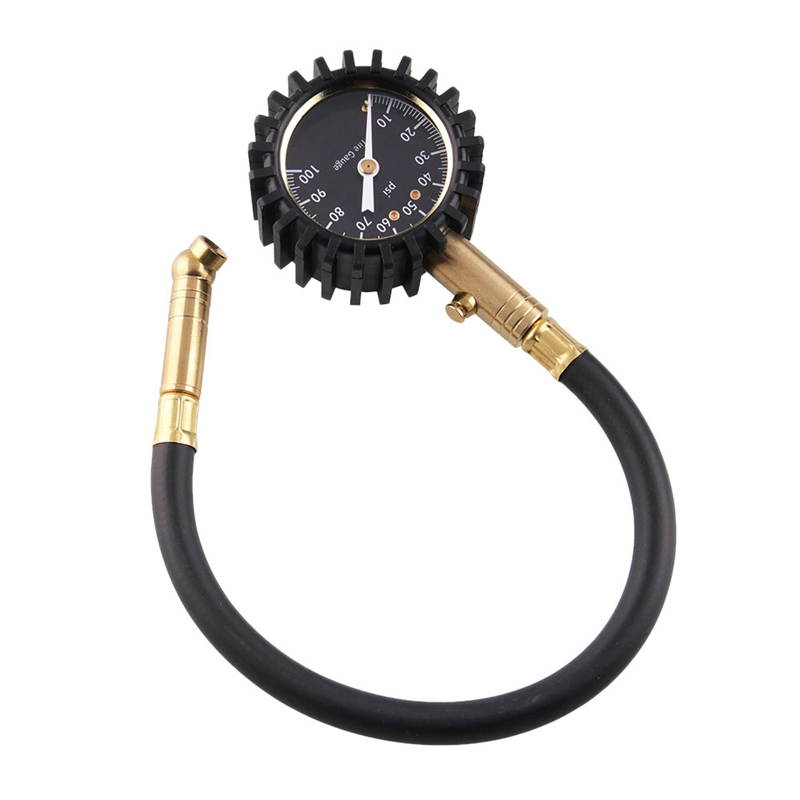 Heavy Duty Tire Pressure Gauge Premium Braided Hose  Solid Brass Hardware  Best for Any Car  Truck  Motorcycle|Tire Pressure Monitor Systems| |  - title=
