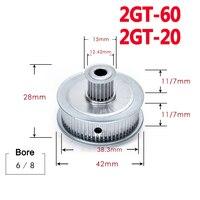 1 шт. GT2 60/20 прямозубая Шестерня двойное круглоголовое синхронное колесо для 3D-принтера ширина деталей 7 мм 11 мм диаметр 6 мм 8 мм