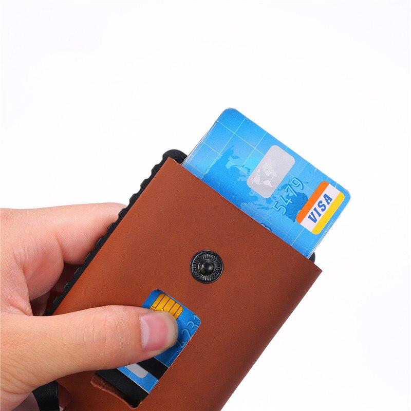 BISI GORO RFID Blocking Credit Card Holder 2020 Button Wallets Money Bag Hasp Small Wallet For Men Card Holder Purse Carteira