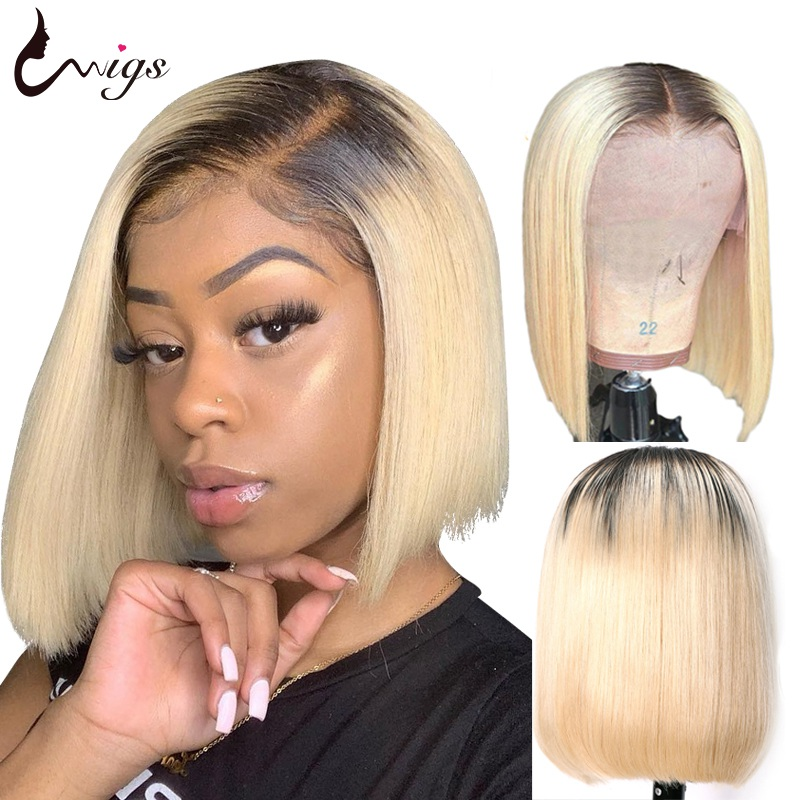 UWIGS 1B 613 Straight Bob Wig 180% Density 613 Blonde Lace Front Wig Ombre Human Hair Wig Brazilian Remy Ombre Lace Front wig image