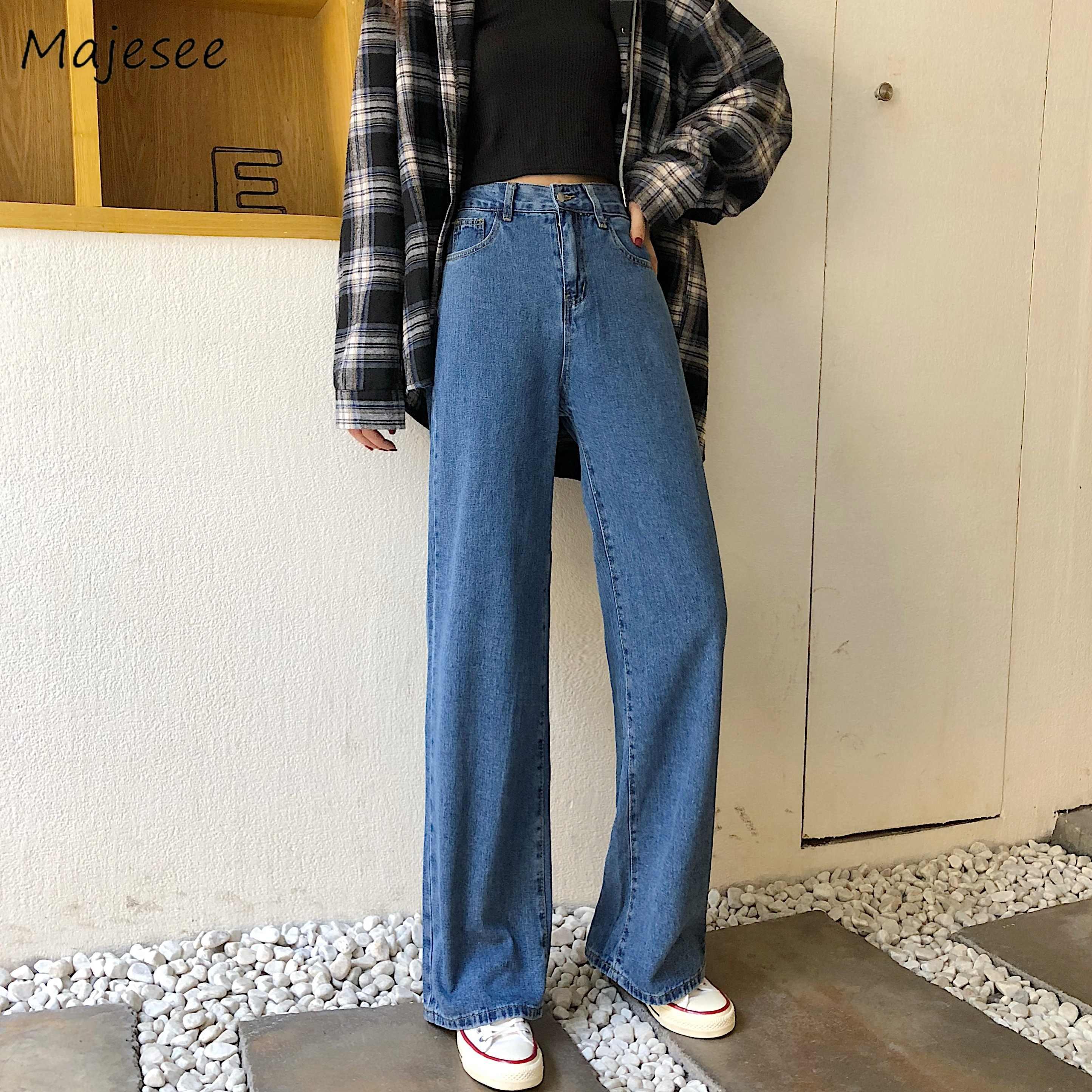 Pantalones Vaqueros Retro Clasicos Para Mujer Pantalon Harajuku De Pierna Larga Ancho Estilo Coreano Ulzzang Bf Moda Informal Elegante Que Combina Con Todo Pantalones Vaqueros Aliexpress