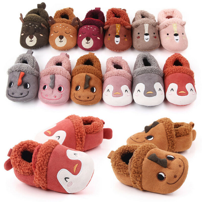 Toddler Baby Infant Girls Boys Winter Slippers Warm Crib Non-Slip Soft Fleece Shoes